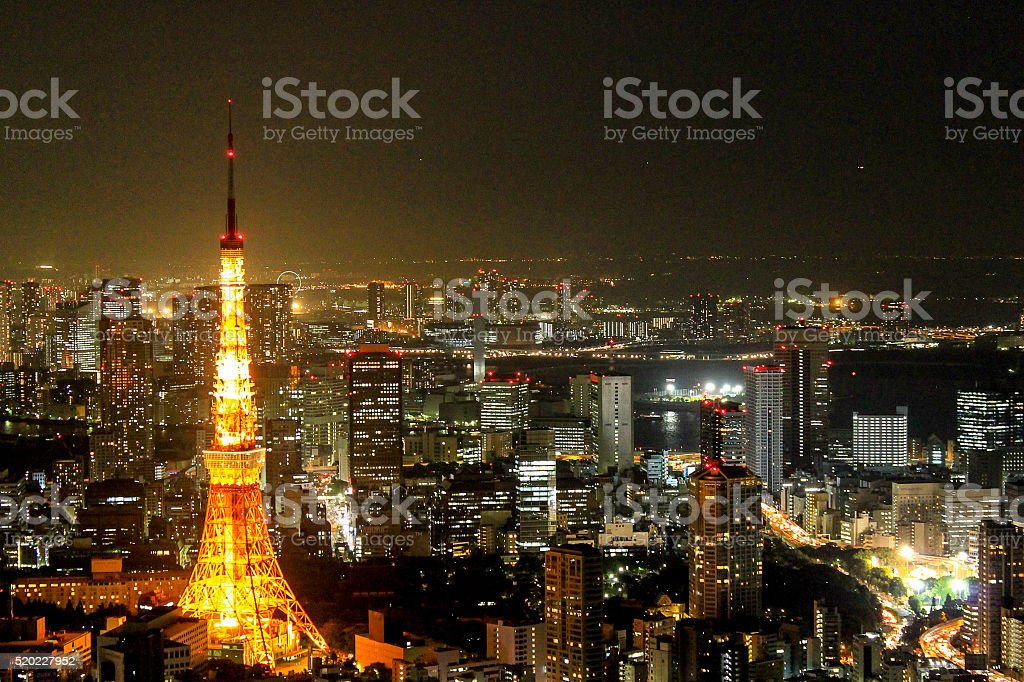 Landscape Tokyo Tower night view, Tokyo City View stock photo