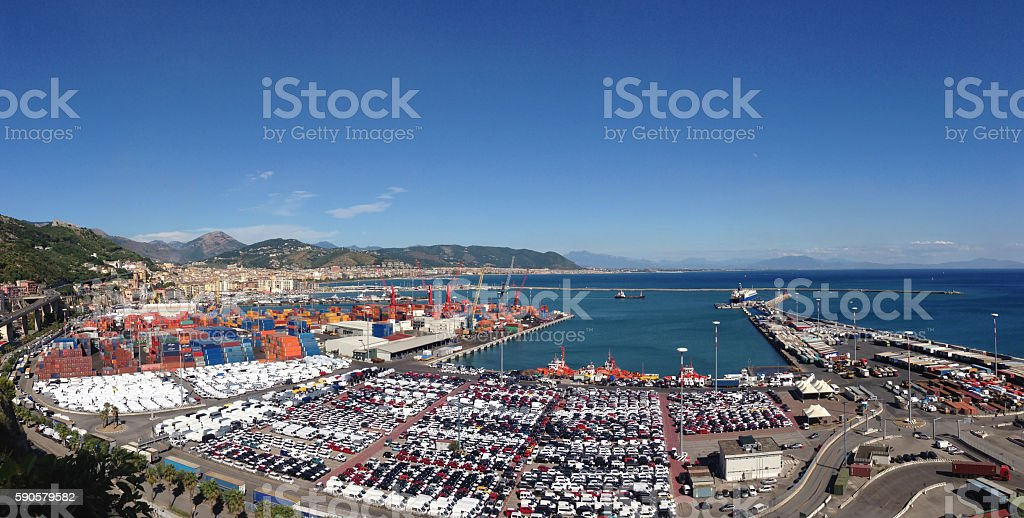 Landscape trading port stock photo