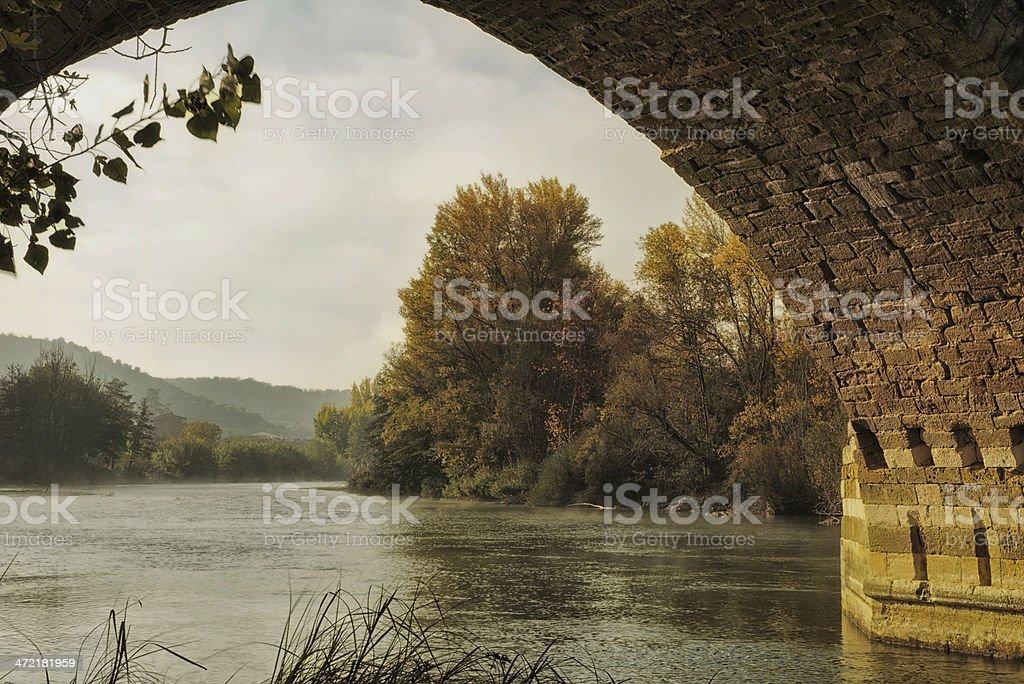 Landscape under the bridge royalty-free stock photo