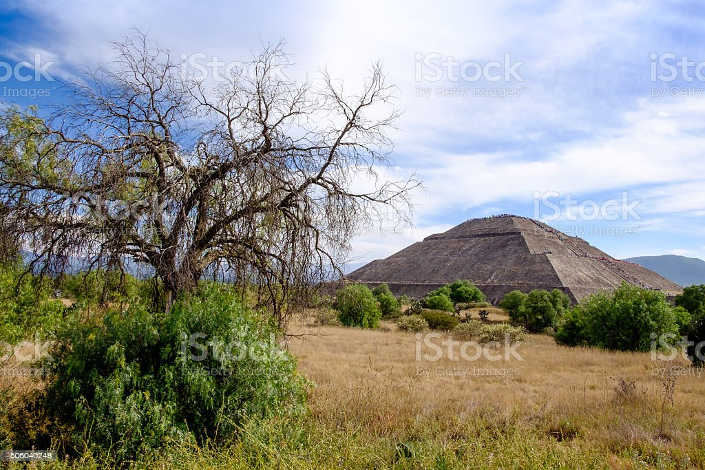Landscape view at Teotihuacan, trees and Pyramid of the Sun stock photo
