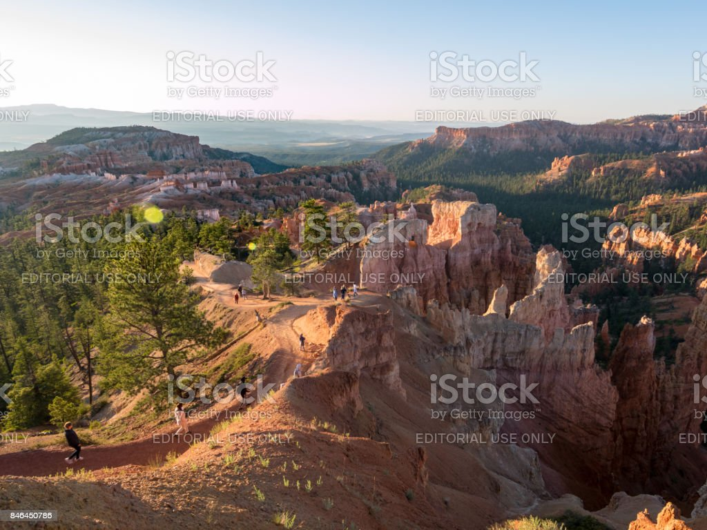 Landscape view during sunrise in bryce canyon, Utah, USA stock photo