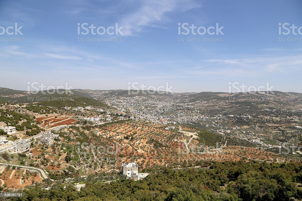 Landscape view from above with Ajloun fort, Jordan stock photo