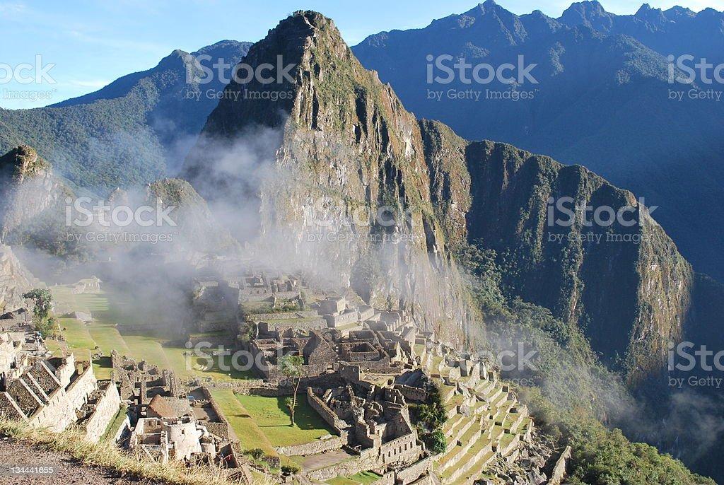 Landscape view from Machu Pichu Mountain in Peru. stock photo