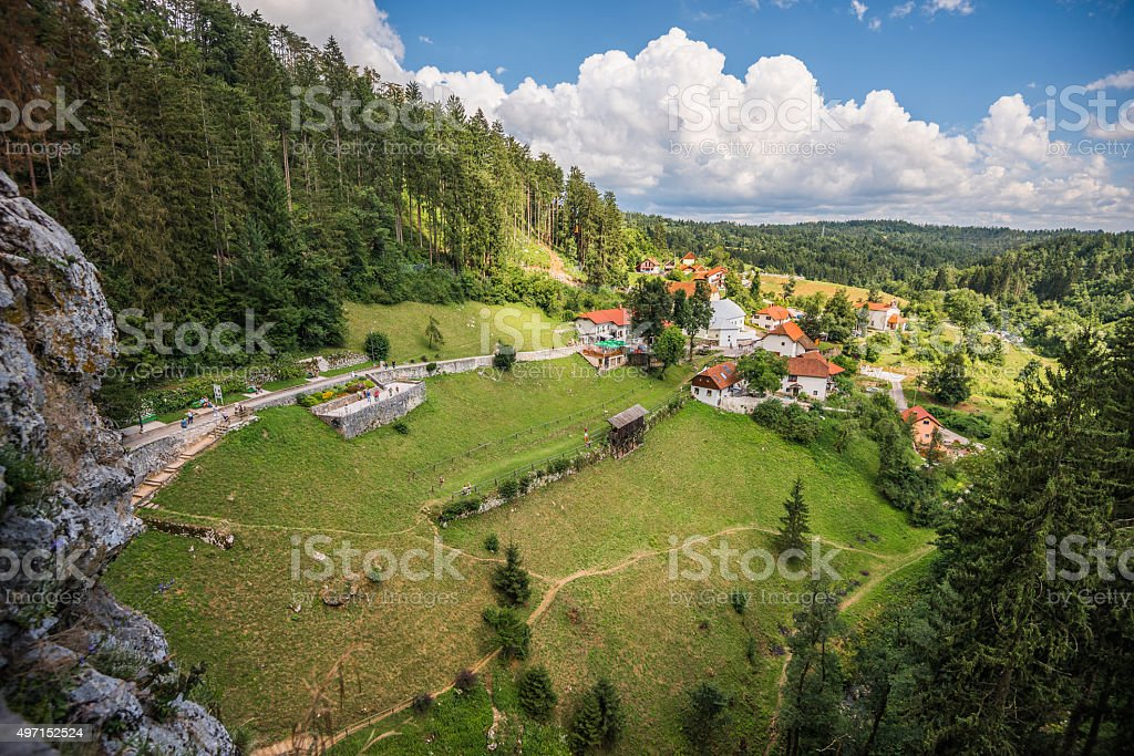 Landscape View from Predjama Castle Window stock photo
