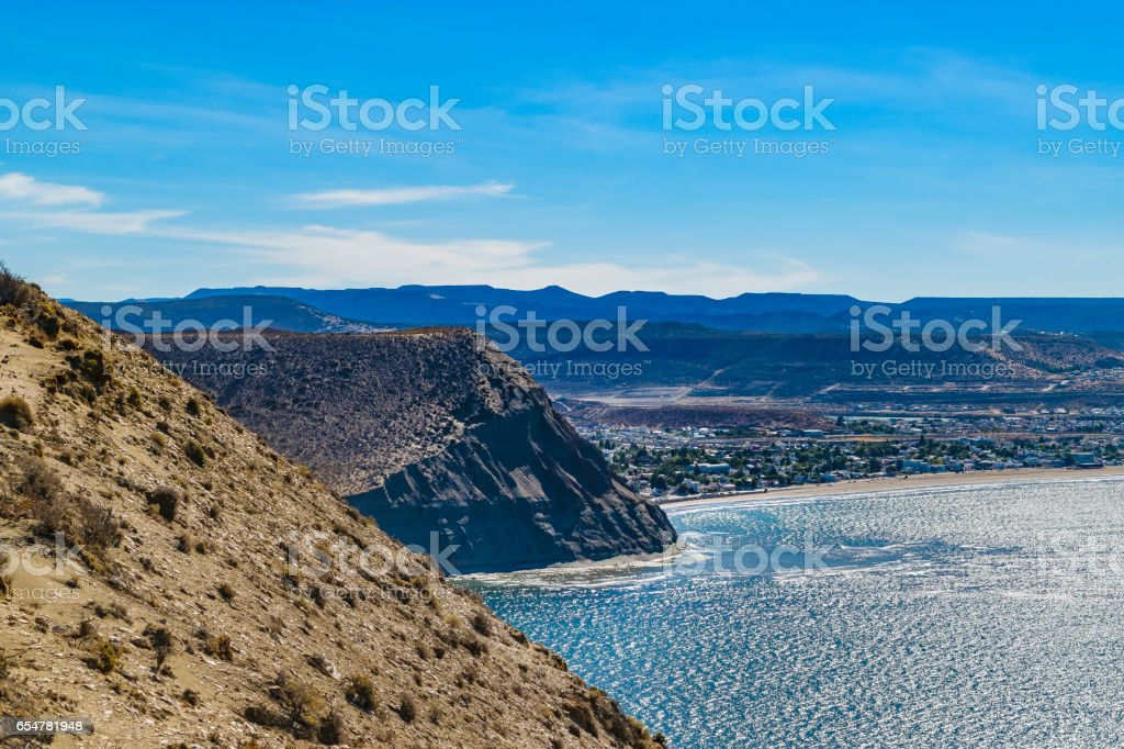 Landscape View from Punta del Marquez Viewpoint, Chubut, Argentina stock photo