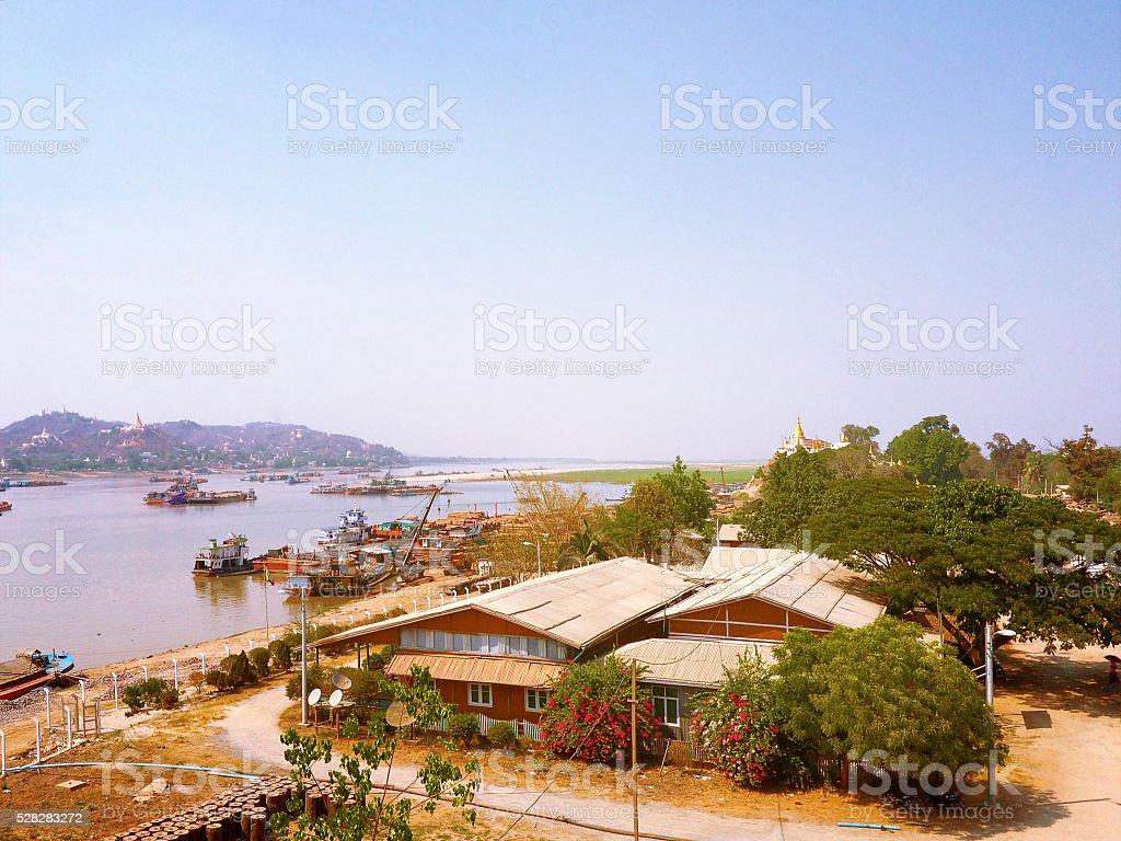Landscape view from Tadar Road Bridge Sagaing Irrawaddy River stock photo