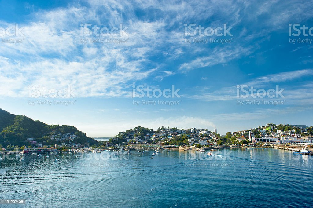 Landscape view from the sea of Manzanillo, Mexico stock photo