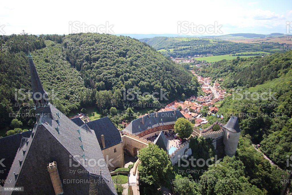 Landscape view from top of Karlstein Castle stock photo
