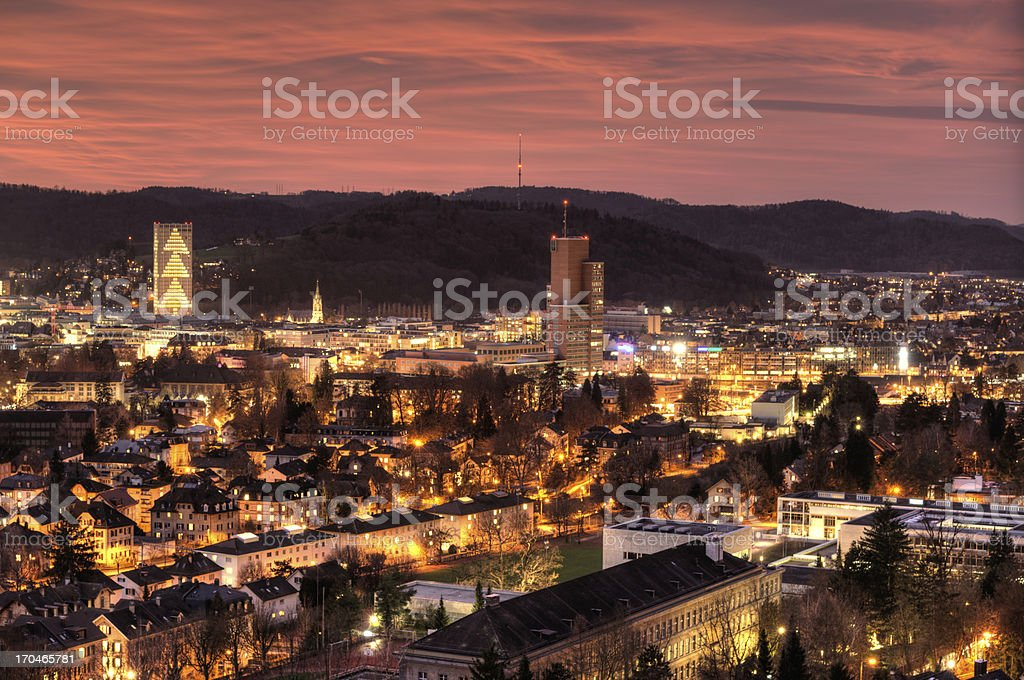 Landscape view of a city in Switzerland during sunset stock photo
