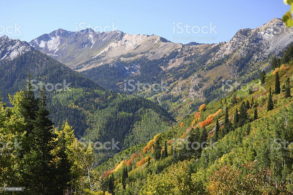 Landscape view of an autumn mountain stock photo