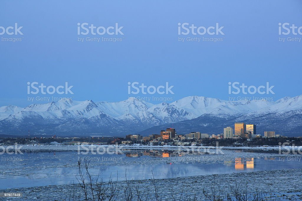 Landscape view of anchorage in Alaska stock photo