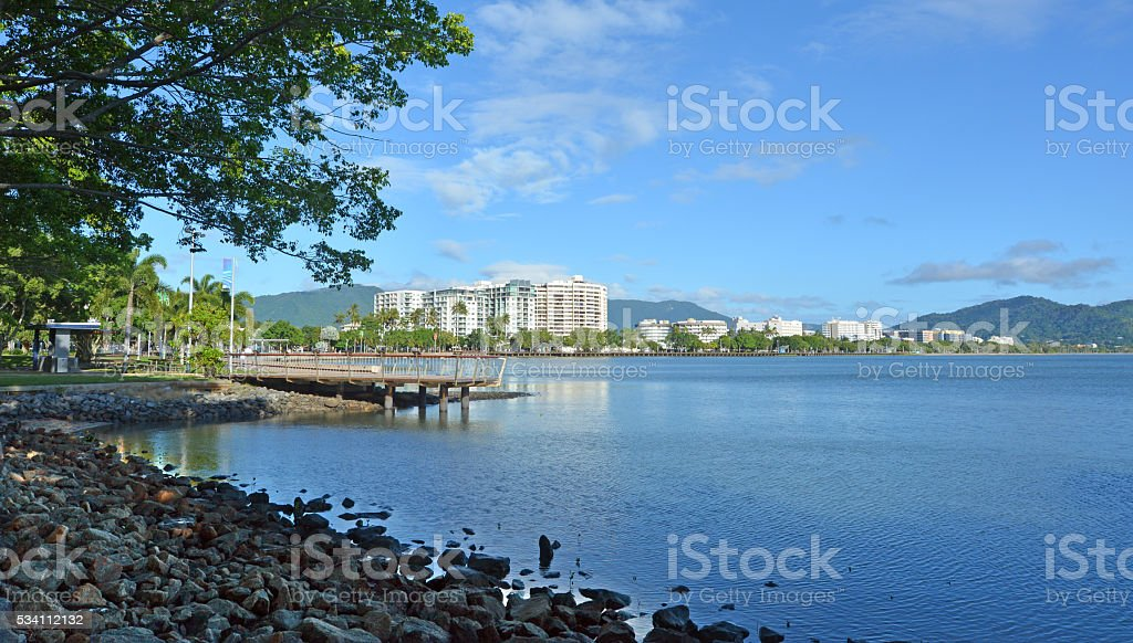 Landscape view of Cairns waterfront skyline stock photo