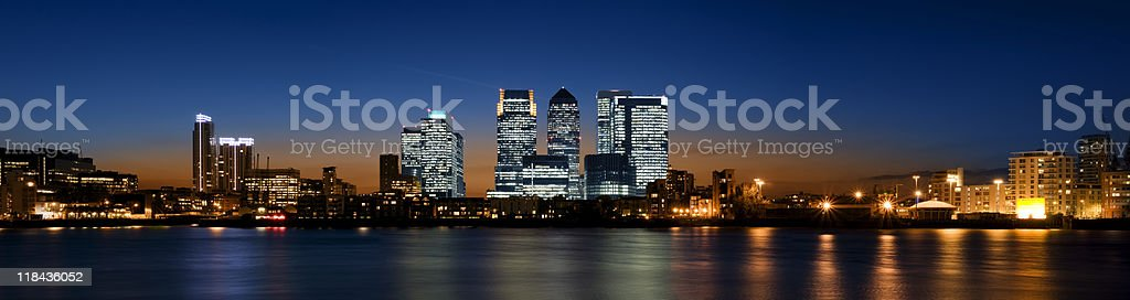 Landscape view of Canary Wharf, London during night stock photo
