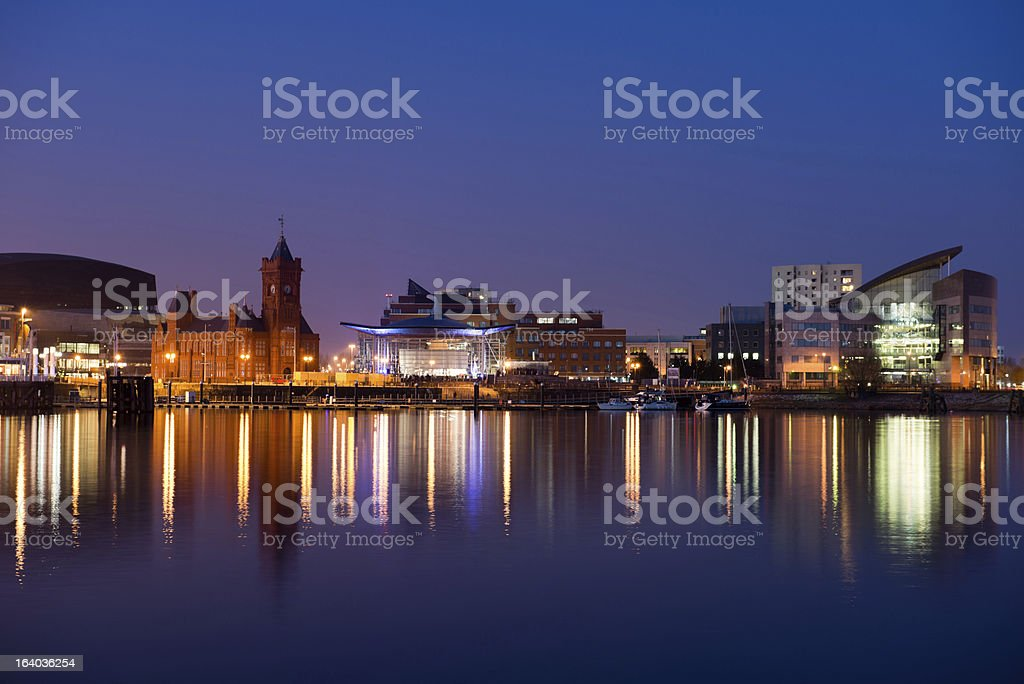 Landscape view of Cardiff Bay from across the water at dusk stock photo