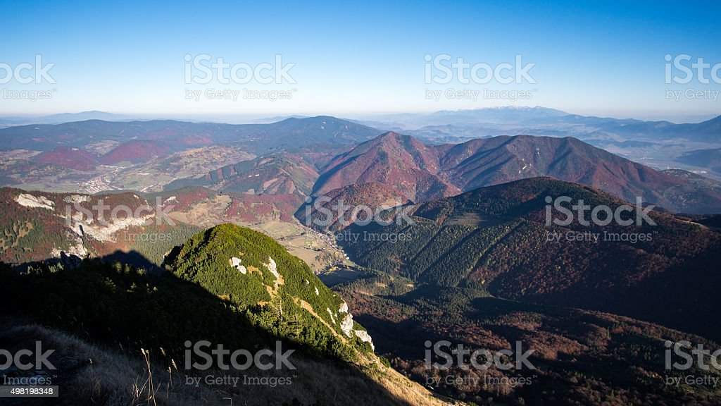 Landscape view of colorful mountain hills in fall stock photo