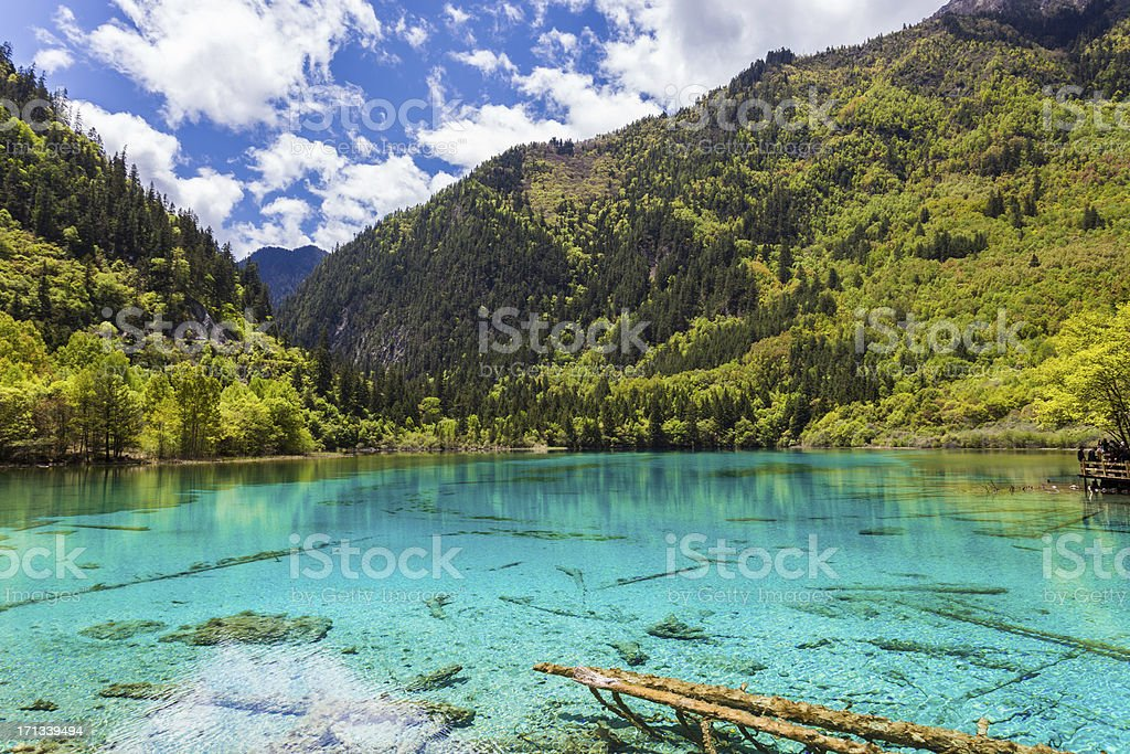 Landscape view of Five-Flowers Lake in Sichuan, China stock photo