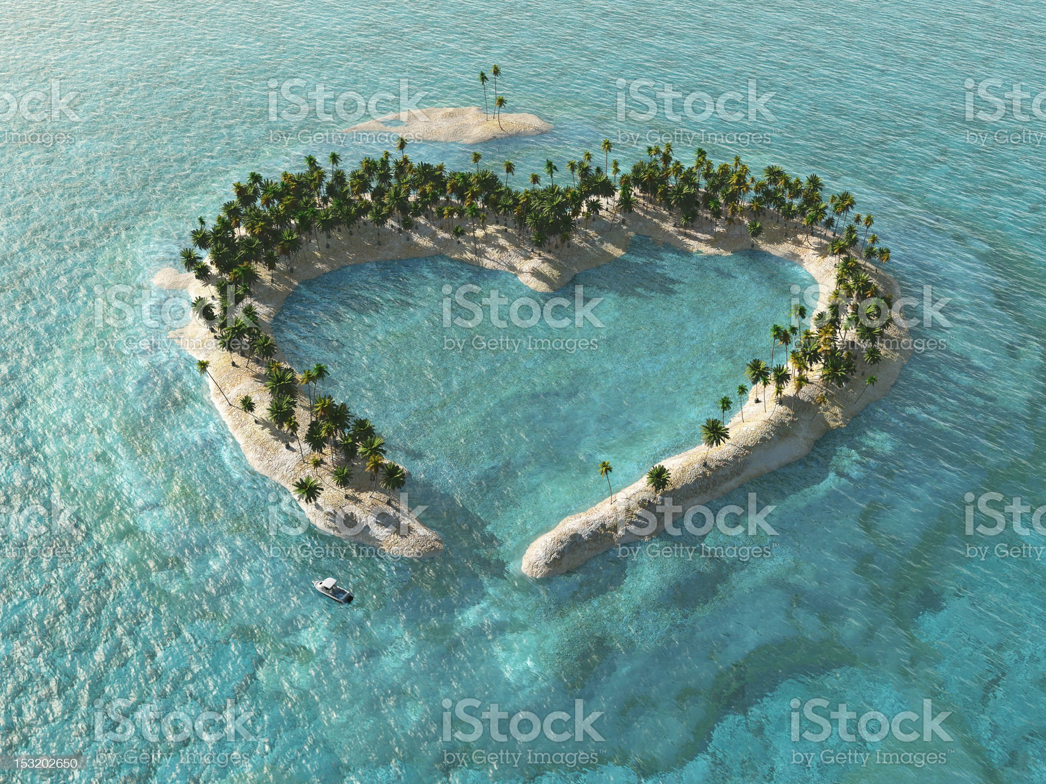 A landscape view of heard-shaped tropical island royalty-free stock photo