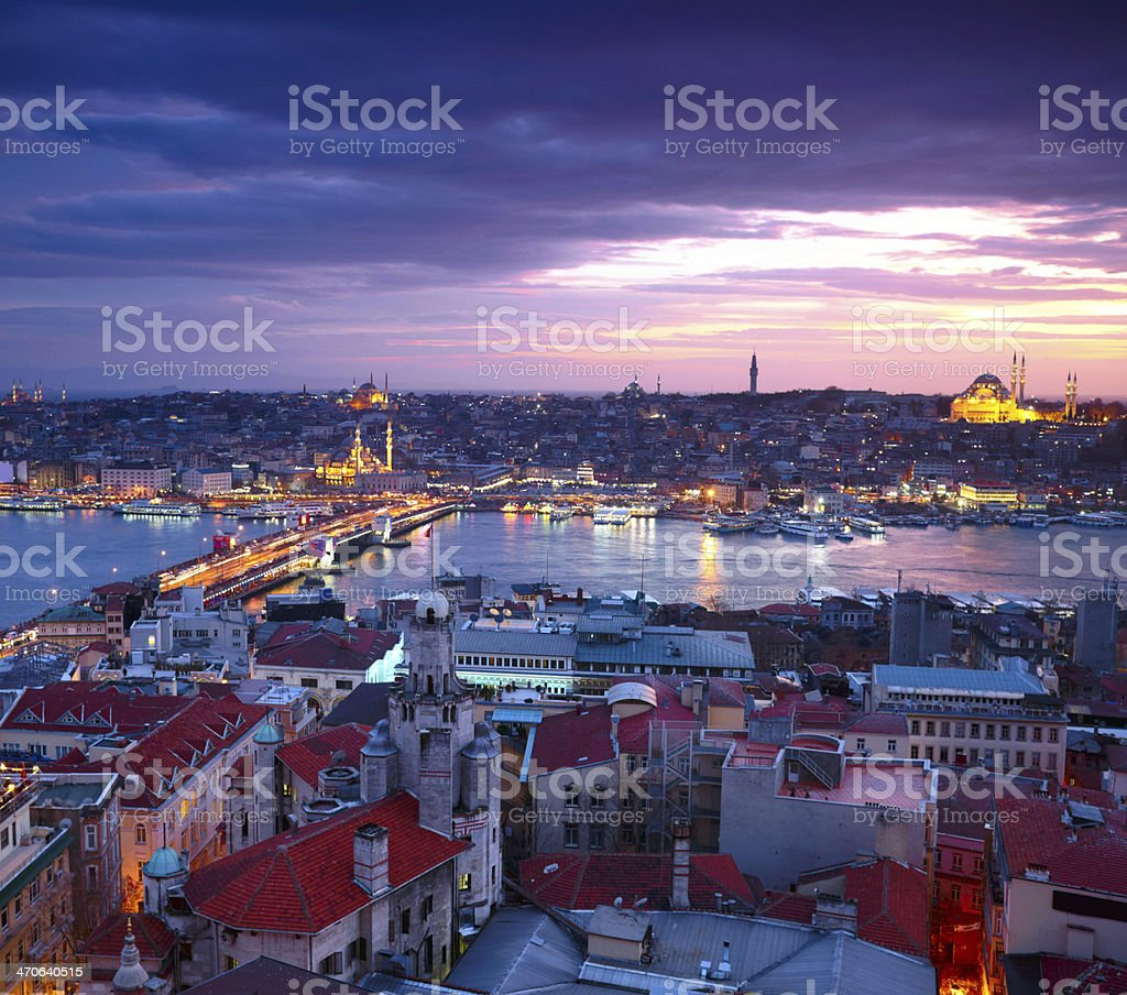 Landscape view of Istanbul at sunset stock photo