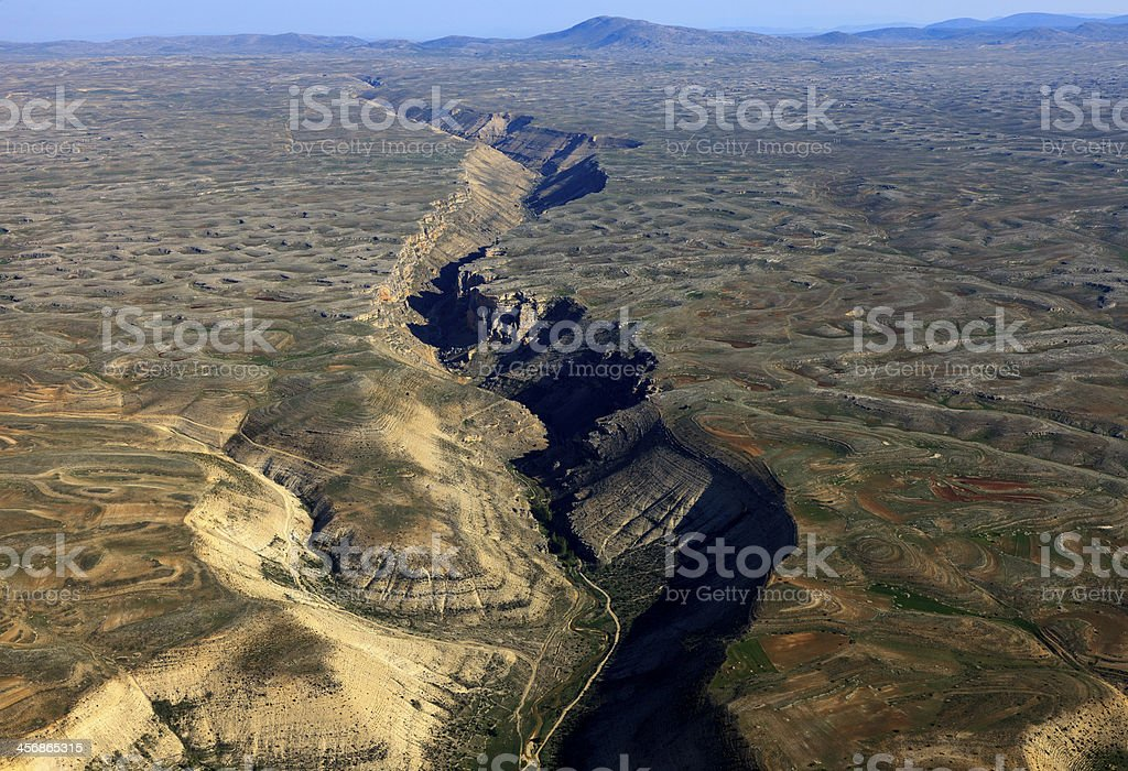 Landscape view of jagged fault line stock photo