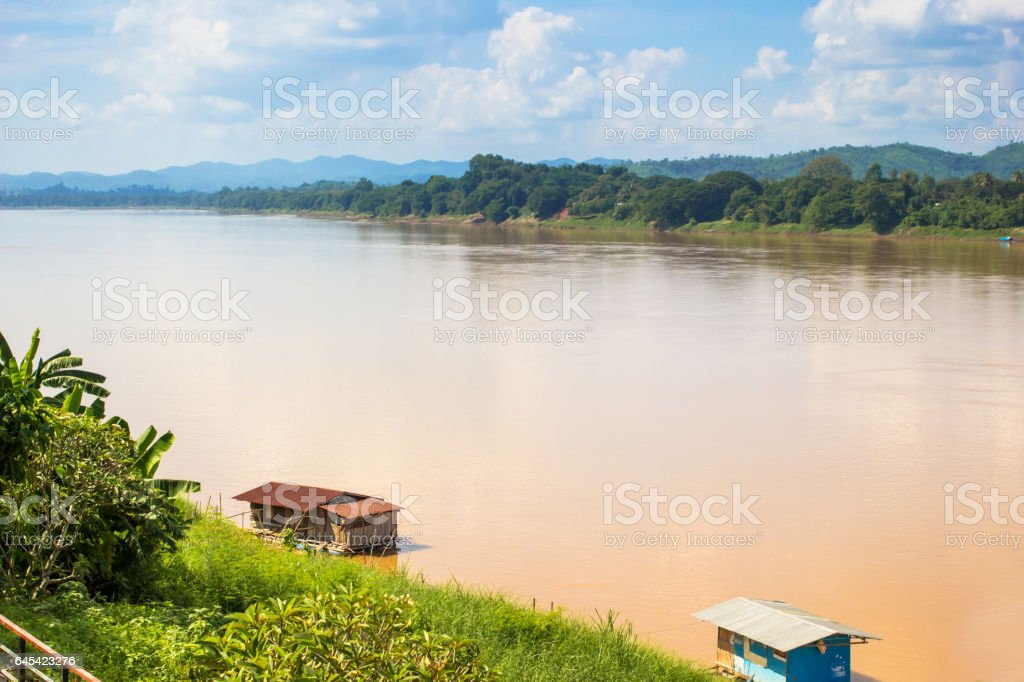 Landscape view of Khong river at Thai-Laos border stock photo