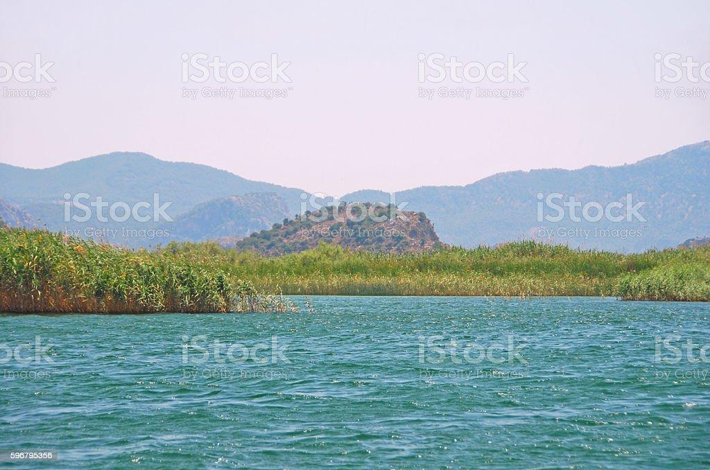 Landscape view of Lake Köyceğiz with Marsh and Akdag mountainrange stock photo