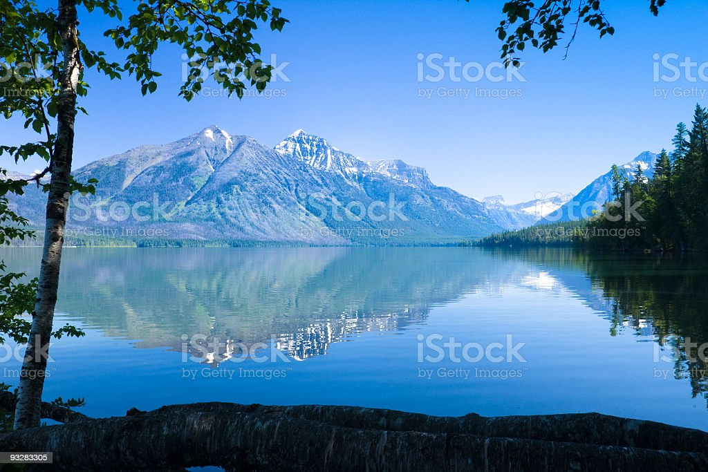 A landscape view of Lake McDonald stock photo