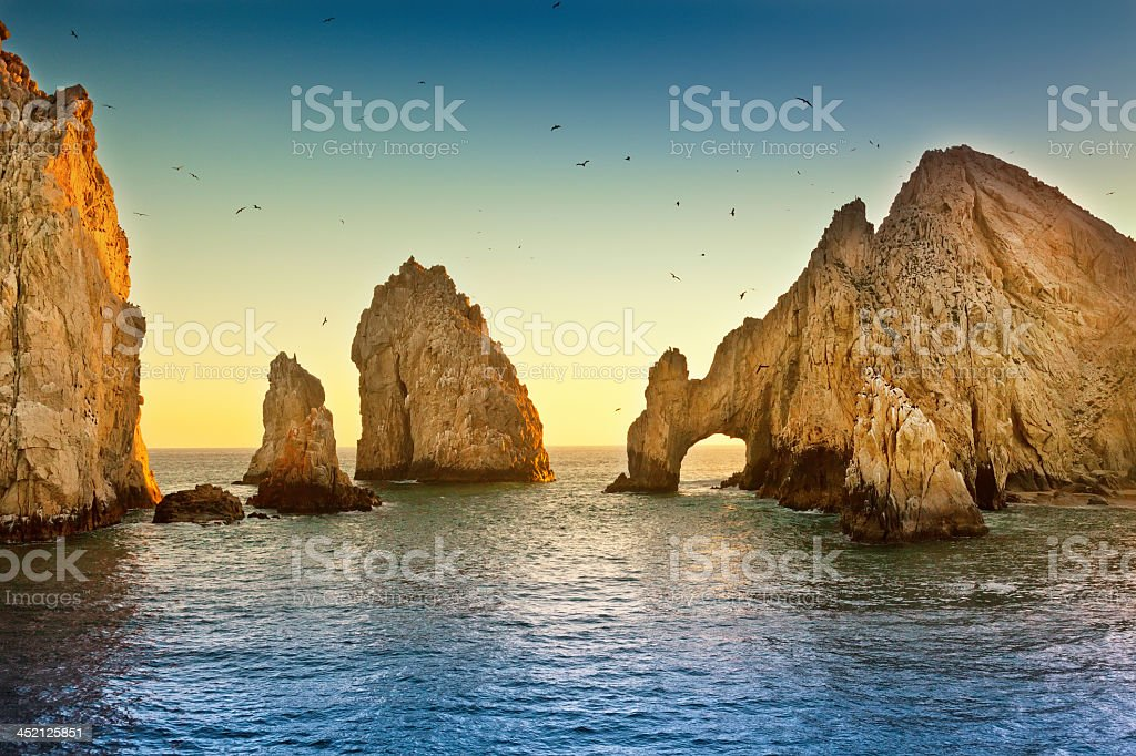 Landscape view of Lands End with ocean and large rocks stock photo