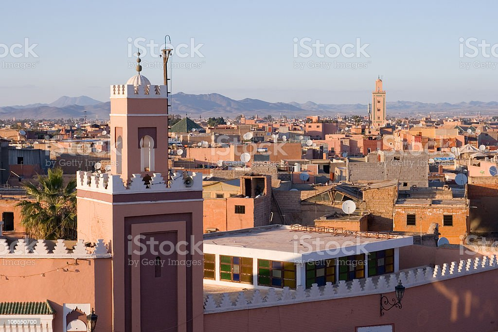 Landscape view of Marrakech, Morocco during the day stock photo