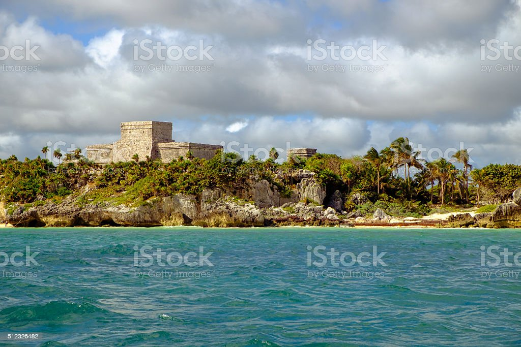 Landscape view of Mayan ruins at ocean coast of Tulum stock photo