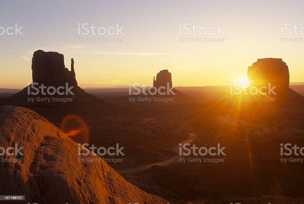 Landscape view of Monument Valley at sunset royalty-free stock photo