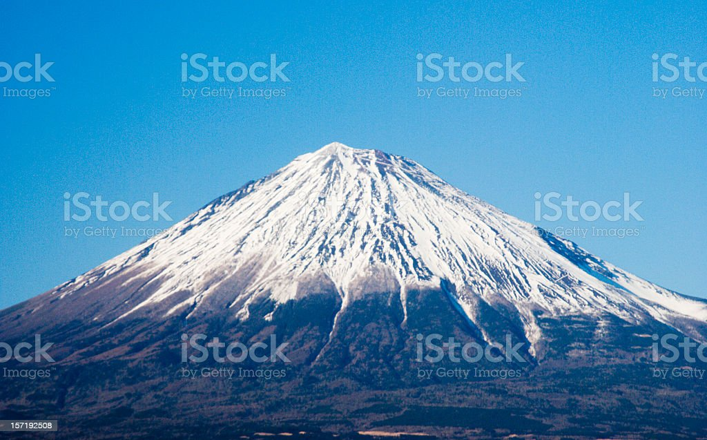 A landscape view of Mount Fuji stock photo