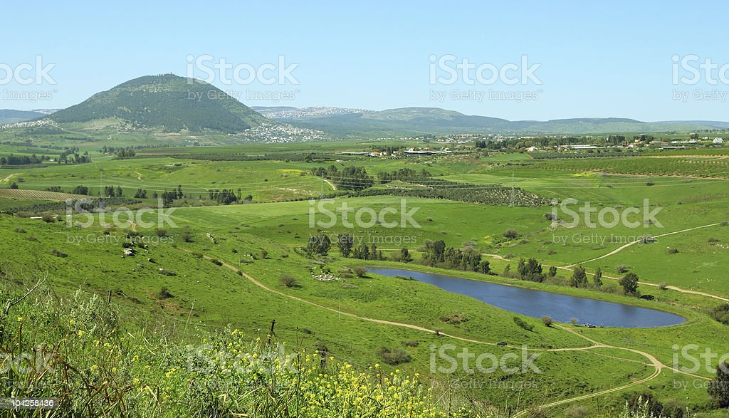 Landscape view of Mount Tabor and surrounding area in Israel stock photo