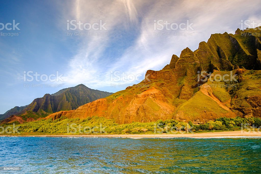 Landscape view of Na Pali coastline cliffs and beach, Kauai stock photo