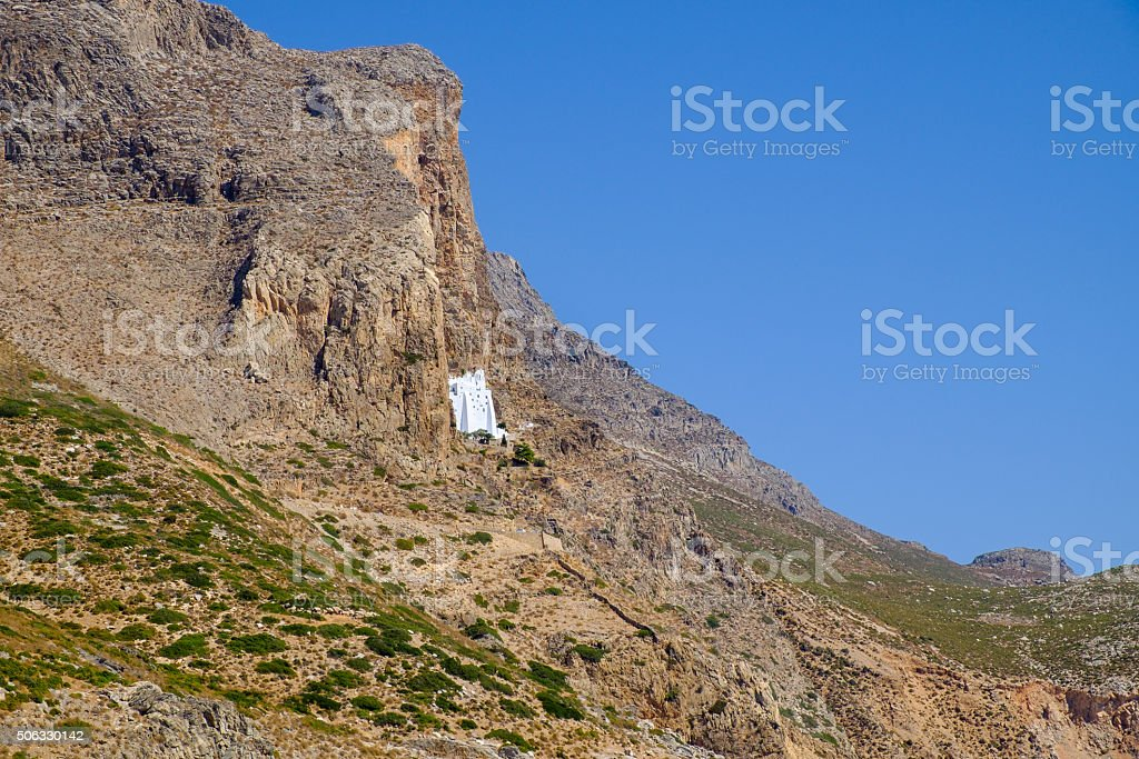 Landscape view of ocean coastline and Panagia Hozoviotissa monas stock photo