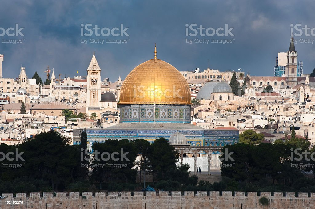 Landscape view of Old City of Jerusalem stock photo