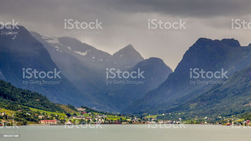 Landscape View of Olden village in Briksdalsbreen Glacial valley stock photo
