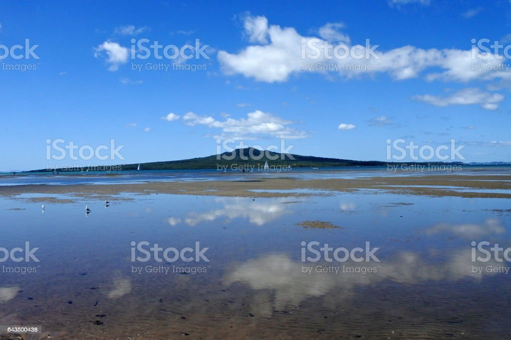 Landscape view of Rangitoto Island New Zealand stock photo