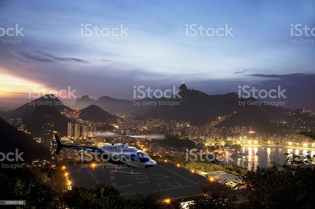 Landscape view of Rio de Janeiro at night royalty-free stock photo