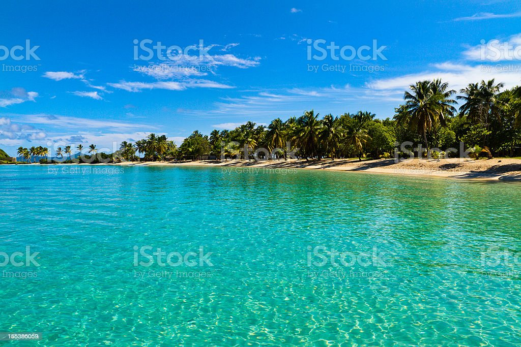 Landscape view of Salt Whistle Bay, Mayreau stock photo