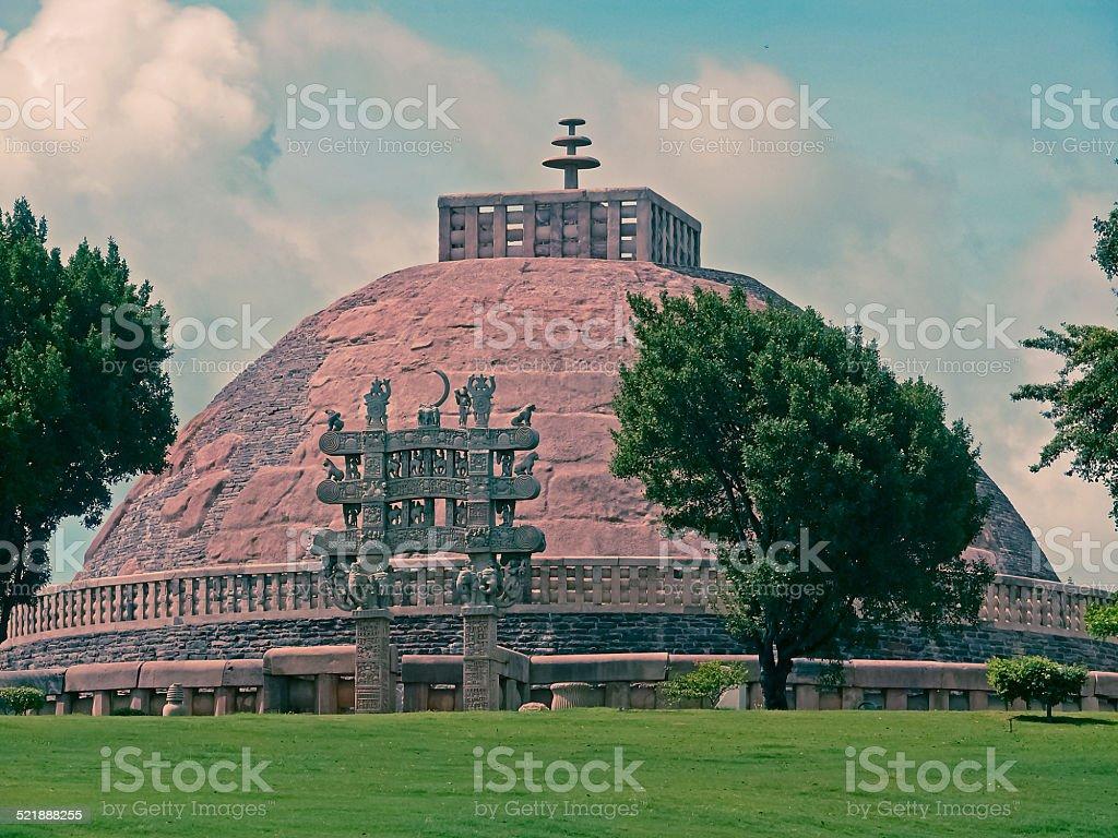 Landscape view of Sanchi Stupa No. one stock photo