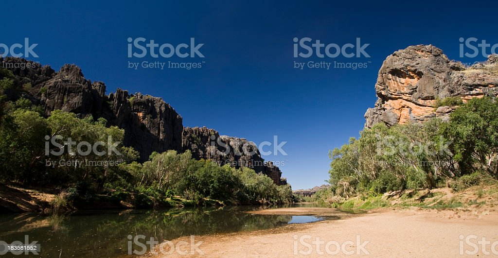 Landscape view of small lake in Windjana Gorge stock photo