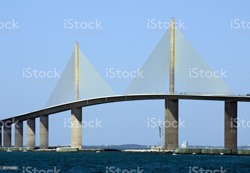 Landscape view of Sunshine Skyway Bridge in Tampa, Florida stock photo