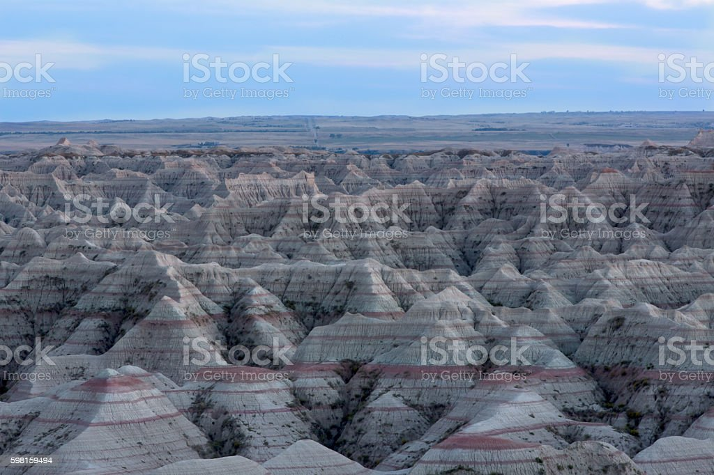 Landscape view of the Badlands National Park stock photo