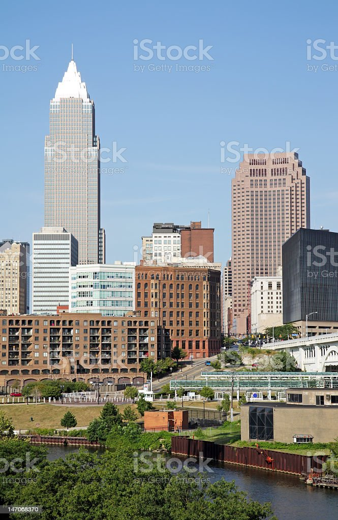 A landscape view of the city of Cleveland stock photo