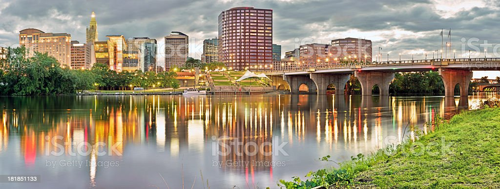 A landscape view of the city of Hartford Connecticut stock photo