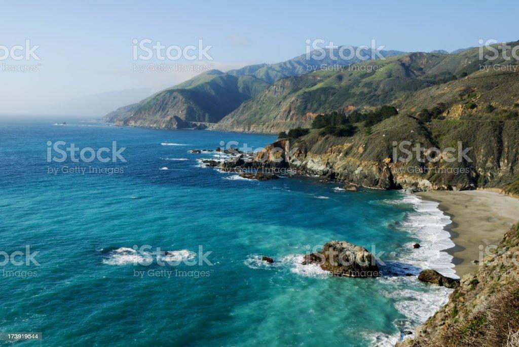 A landscape view of the coastline stock photo