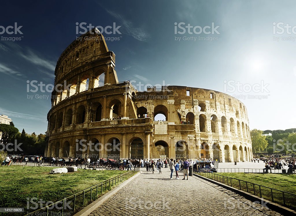 Landscape view of the Coliseum in Rome, Italy stock photo
