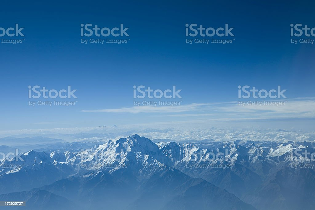 Landscape view of the Himalayas during a sunny day stock photo