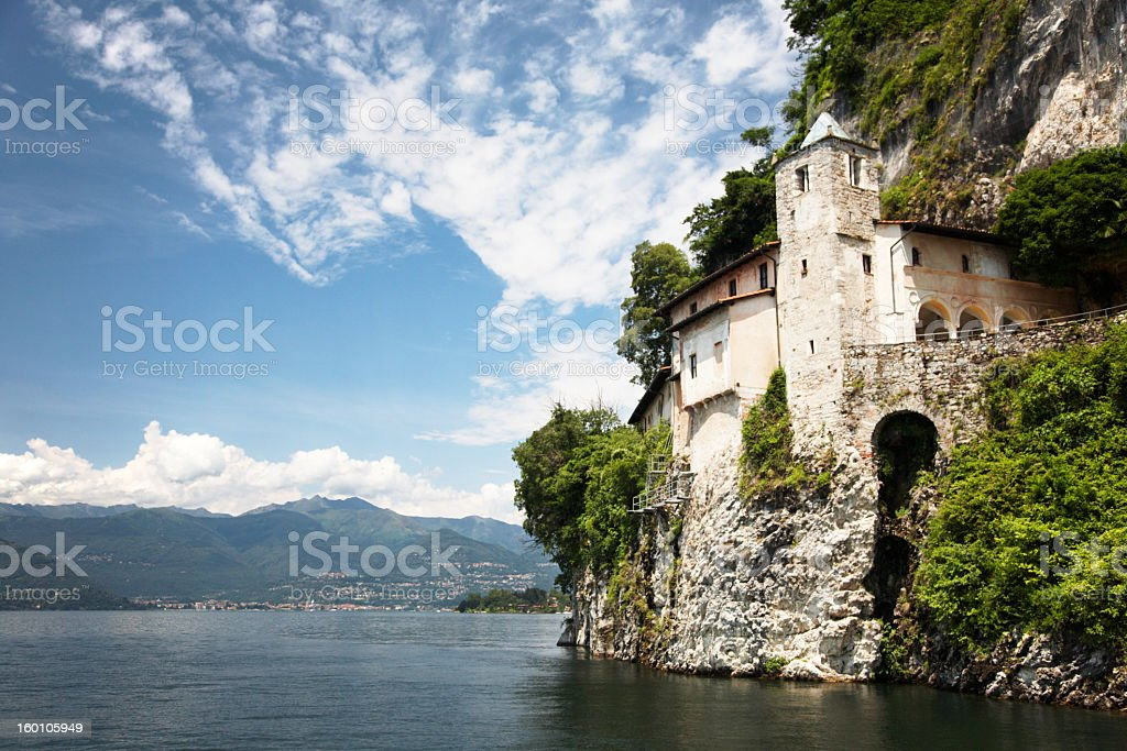Landscape view of the monastery near the water royalty-free stock photo