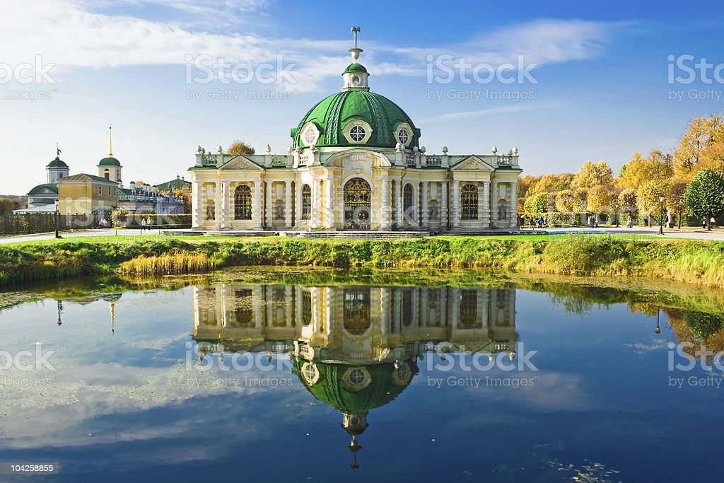 A landscape view of the Pavilion Grotto in Kuskovo stock photo